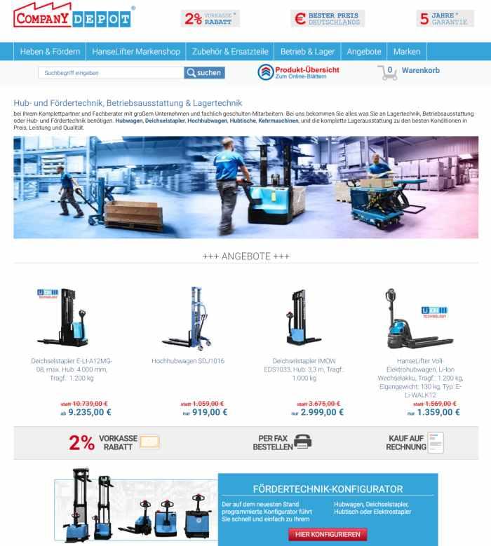 Companydepot Betriebsausstattung Onlineshop
