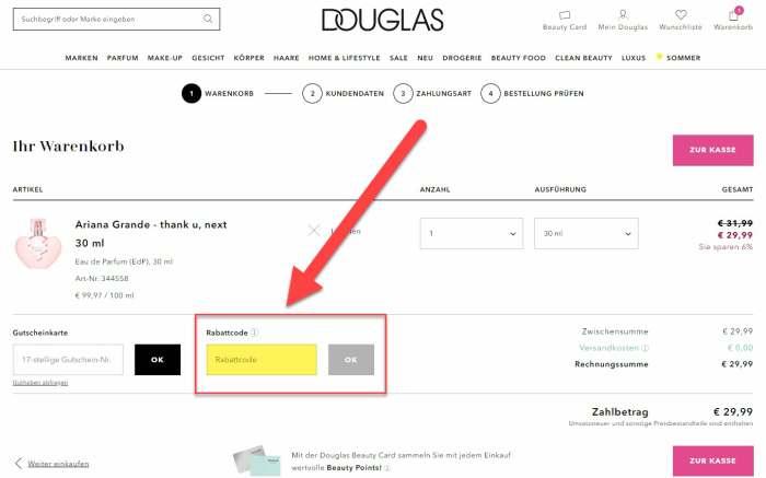 Douglas Gutscheincode einlösen