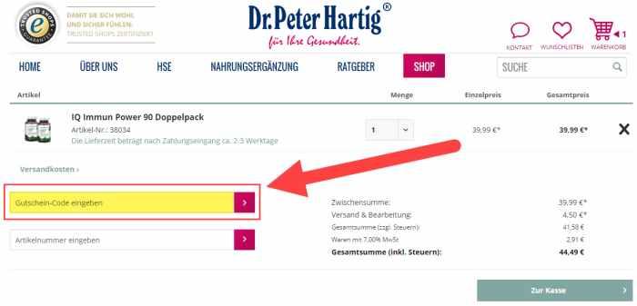 Dr. Peter Hartig Gutschein einlösen
