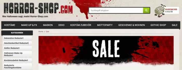 Horror-Shop Sale und Angebote