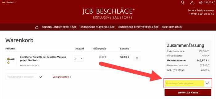 JCB Beschläge Gutschein einlösen