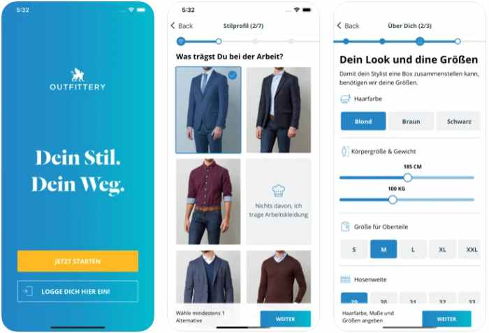Outfittery App für Apple & Android