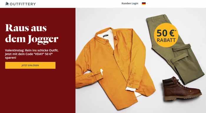 Outfittery Onlineshop für Männer