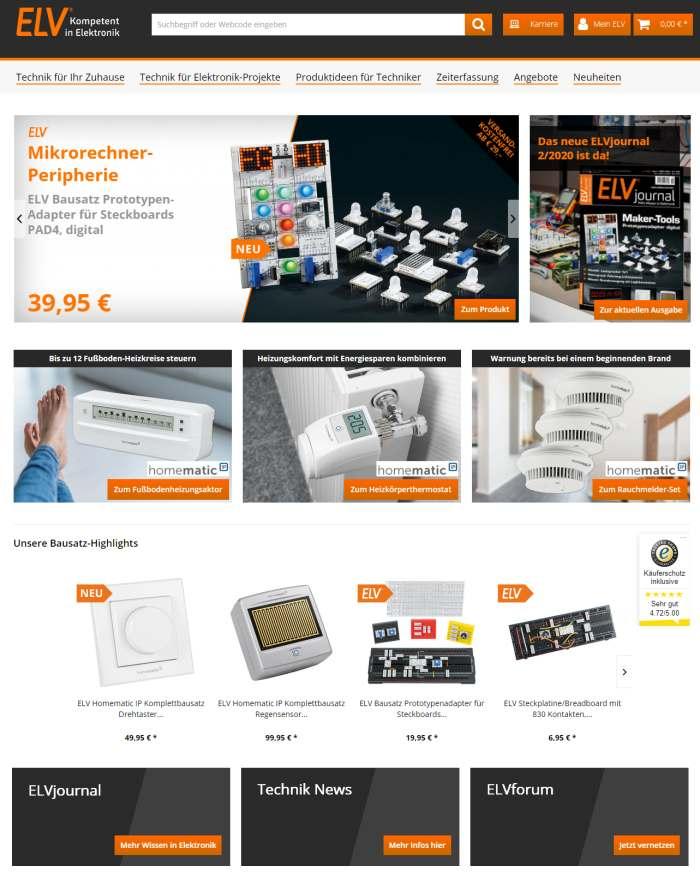 ELV Elektronik Webseite