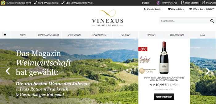 Screenshot Vinexus Webseite