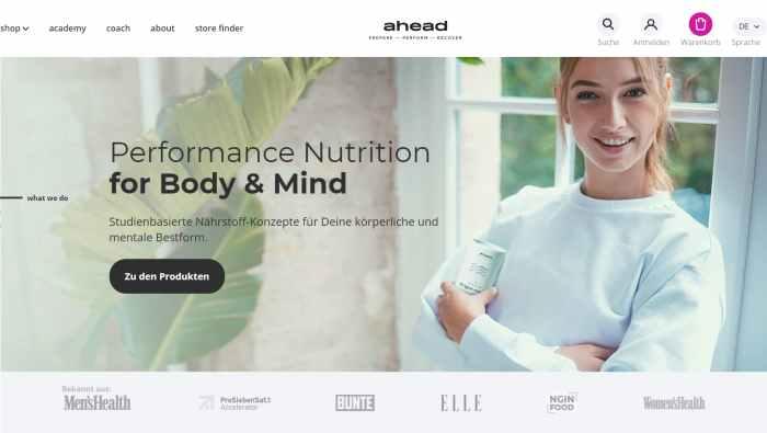 ahead® Nahrungsergänzungs- und Food-Produkte