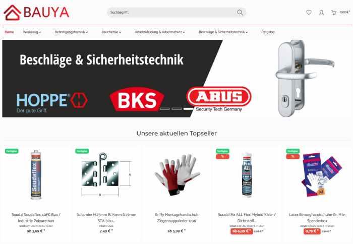 BAUYA Online Shop fürs Handwerk