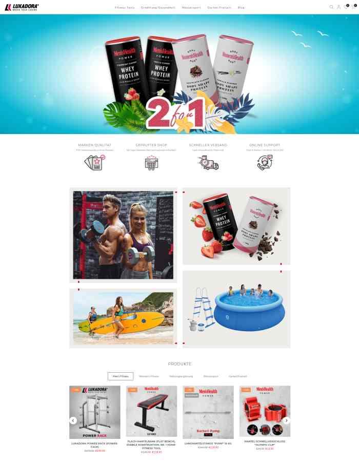 Lukadora Fitnessgeräte & Fitness Supplements