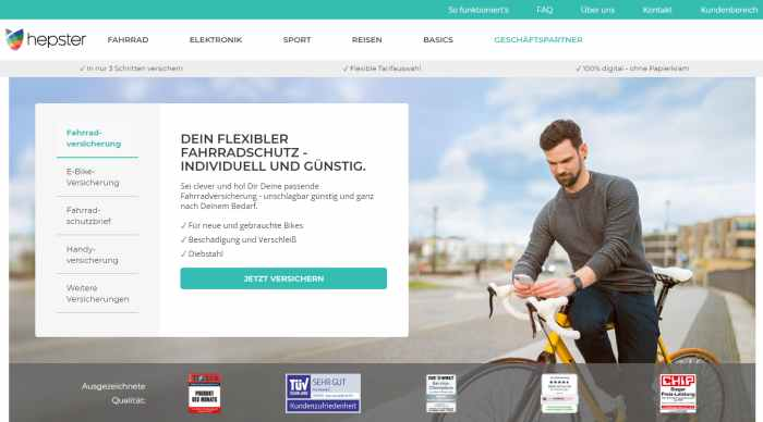hepster - Versicherungen einfach online abschließen