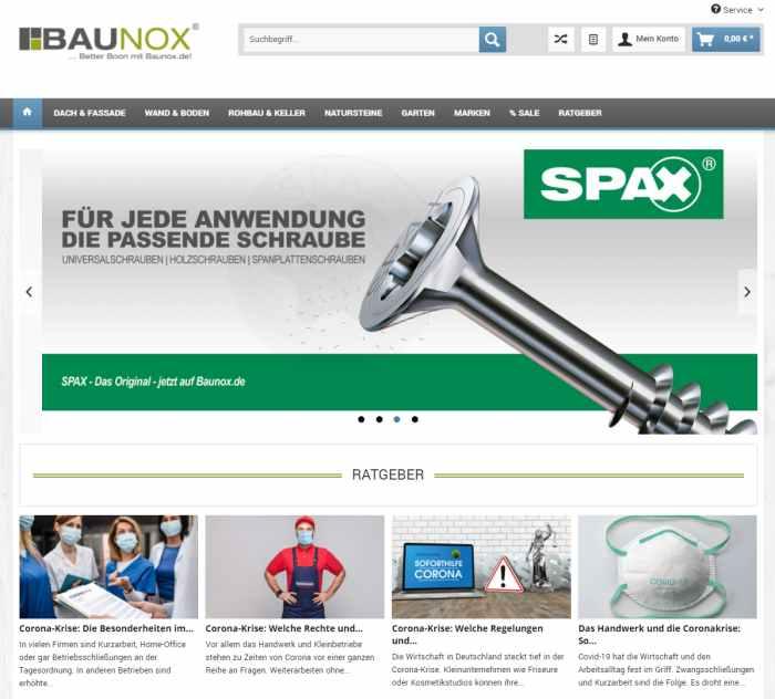 Baunox - Onlineshop für Baustoffe, Abdichtung, Baumarkt & Co.