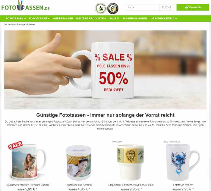 Fototassen.de Online Tassen und Gläser gestalten