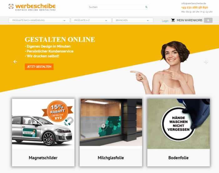 Werbematerial Onlineshop